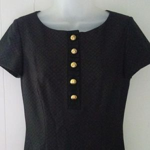 Antonio Melani Black dress with gold buttons